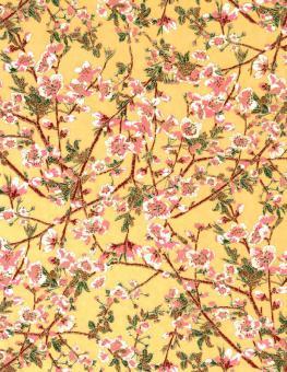 Japanpapier Chiyogami, Kirschblüte auf Gelb Gold 61cm47cm