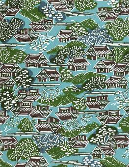 Japanpapier Katazome, Reet blau