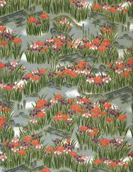 Japanpapier Chiyogami, Iris in japanischer Landschaft