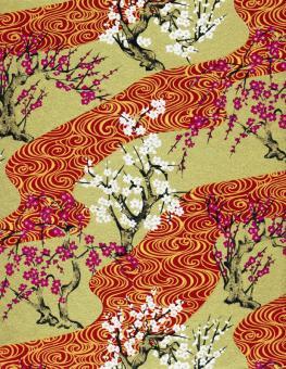 Japanpapier Chiyogami, Kirsch und Pflaumenblüte 61cm47cm