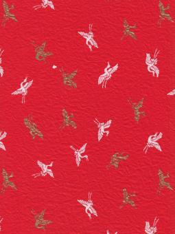 Japanpapier Momi, rote Kaninchen auf Weiss und Gold