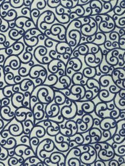 Japanpapier Chiyogami, blaue Karakusa
