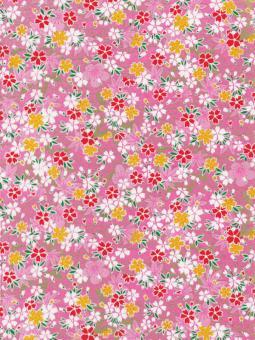 Japanpapier Chiyogami, Blüten auf Rosa