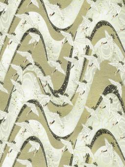 Japanpapier Chiyogami, weisse Kraniche am goldenen Fluss