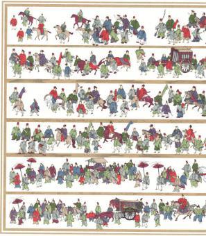 Japanpapier Chiyogami, japanischer Festzug