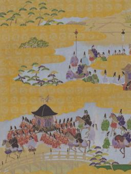 Japanpapier Chiyogami, Festzug auf Gold