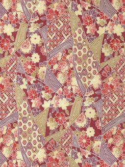 Japanpapier Chiyogami, Muster und Momiji auf Rot