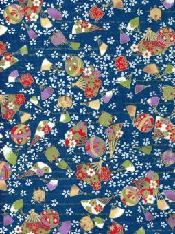 Japanpapier Chiyogami, Fächer und Kugeln auf Blau
