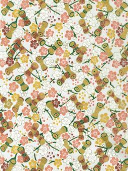 Japanpapier Chiyogami, Spindel und Blüten - Tsuzumi cremefarben