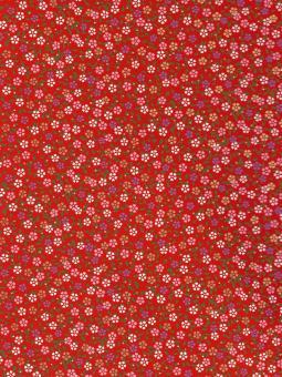 Japanpapier Chiyogami, Blüten auf Rot