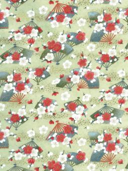 Japanpapier Chiyogami, Fächer und Blüten auf Mint